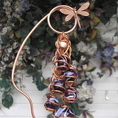 Dragonfly Plant Stake Garden Art Yard Sculpture Glass Metal Bell Handmade VS