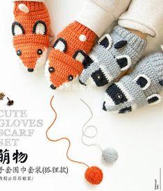 Leithygurumi: Crochet Fox Scarf Set Crochet Dinosaur Pattern Free, Free Pattern, Crochet Patterns, Fox Scarf, Crochet Fox, Fingerless Gloves, Arm Warmers, Projects To Try, Winter Hats