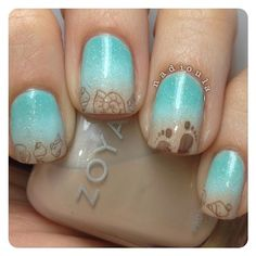 beach nails. For the gradient Zoya Minka, Essie Mint Candy Apple,and China Glaze Gor Audrey stamped using MoYou London Sailor Collection 07 and CiciSisi 09 in e.l.f Smoky Brown. Topped off with Butter London Frilly Knickers.