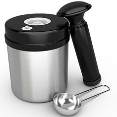 Traditional Alpha Coffee Canister 1 Pound. Vacuum Seal Container With Coffee Scoop. Airtight Food Storage For Coffee, Tea, Spice. Stainless Steel Jar., ,