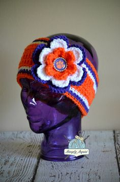 READY 2 SHIP  Clemson Tigers Inspired Flower by SimplySquid, $25.00