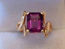 Estate Emerald Cut Amethyst & Diamond Ring 14K Yellow Gold Size 6 1/2