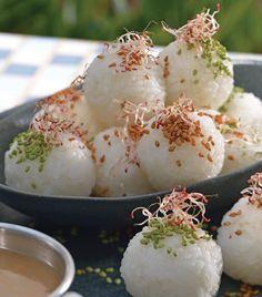 Bolitas de arroz rellenas de cangrejo