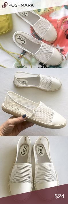 Circus by Sam Edelman ivory mesh espadrille Super cute, super cool, super comfy. Jute, rubber, soft fabric mesh, and faux leather. Reinforced tow and heel. Ivory color. NWOT; never worn. Sam Edelman Shoes Espadrilles
