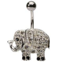 Crystal Clear Gems Elephant Navel Ring