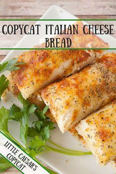 Copycat Italian Cheese Bread Little Caesar's Italian Cheese Bread is one of our favorites! This is my copycat Italian Cheese Bread recipe! Can't beat homemade! Pasta, Copycat Recipes, Italian Recipes, Italian Cooking, Summer Recipes, Homemade Breadsticks, Italian Breadsticks, Cheese Breadsticks, Homemade Biscuits
