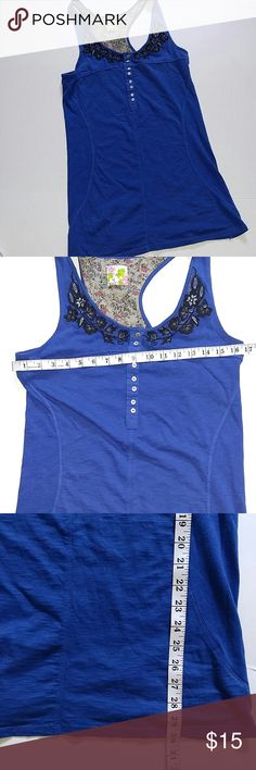 Free People Blue Tank Sleeveless Top Very good.  p-9 Free People Tops Tank Tops