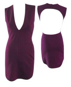 Plunge Neckline Bodycon Dress - Aubergine #shoppitaya