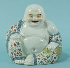 CHINESE PORCELAIN HO PHAT BUDDHA. Height: 10 in. by Width: 10 in. by Depth: 6 in.