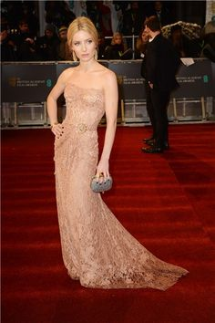Gorgeous pale gold Dolce & Gabbana dress.... red carpet gowns work so well for brides...I wore one myself!
