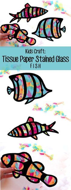 Children's craft fish stained glass Suncatcher Kit, use of tissue paper, crafts and children's activities, project - Kids' Crafts for Diy and Crafts Kids Crafts, Camping Crafts For Kids, Summer Crafts, Crafts For Teens, Projects For Kids, Art Projects, Easy Crafts, Preschool Crafts, Easy Diy