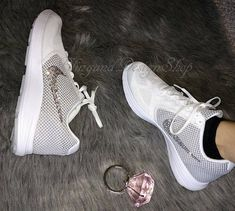 Items similar to Swarovski Bling Nike Revolution 3 Women s Nike Shoes  Customized with Swarovski Crystal Rhinestones 252f94394d