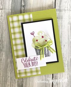 Handmade Birthday Cards, Greeting Cards Handmade, Cupcakes, Crafts To Do, Paper Crafts, Happy Birthday Images, Stamping Up Cards, Colorful Party, Scrapbook Cards