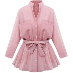 Womens Stand Collar Long Sleeve Pockets Plain Trench Coat Pink (1.735 RUB) ❤ liked on Polyvore featuring outerwear, coats, pink, pink coat, pocket coat, pink trench coat, pink trenchcoat and long sleeve coat