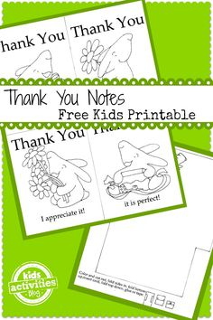 bunny thank you notes free printable - Printable Pictures For Kids