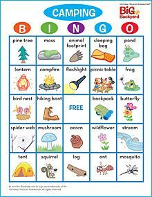 Camping (outdoor) BINGO this would be great for a nature hike http://www.nwf.org/~/media/PDFs/Kids/Your%20Big%20Backyard/Other-Downloads/Camping_Bingo_Cards_Setof4.pdf?dmc=1=20130325T0941265781