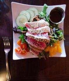 """We chose from the lunch menu for our main entrée and decided on the Funky Door Chicken Sandwich (also offered as a dinner entrée minus the """"sandwich""""). Talk about perfectly marinated chicken! This popular dish is marinated in tequila and lime with green chili and pepperjack sauce. Yum!"""