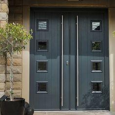 A black composite double door