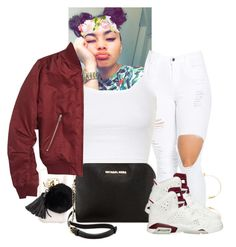 """"""""""" by xtiairax ❤ liked on Polyvore featuring Ashlyn'd, Ray-Ban, MICHAEL Michael Kors, Topshop and NIKE"""