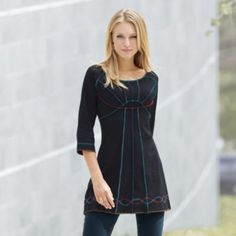 New Favorite Tunic $34.95 - $39.95 on orders by December 17th Read Review (65) |   Write a review     Multi-colorstitching flatters in every direction. Empire waist. Cotton; machine wash. Imported. Available only in black.