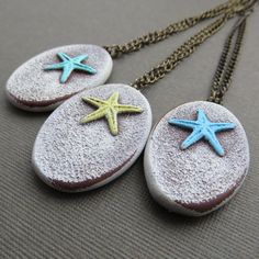 Beachy Starfish Pendant on Antique Brass Chain by DandyBeads, $16.00