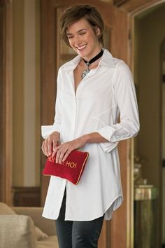 Perfect Shirt Perfect for its shapely fit and ease of styling, our trés chic shirt offers strategic seaming and insets, hidden button closure, on-seam pockets and double White Shirts Women, White Blouses, French Cuff Shirts, Classic White Shirt, Pants For Women, Clothes For Women, Kinds Of Clothes, Stretch Satin, Women's Leggings