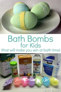 These bath bombs for kids are an easy weekend project.  Your kids will have fun helping make them and will love watching them fizz around the bath tub.