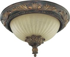 Madeleine Ceiling Flush Light Fixture is a traditional piece featuring intricate scroll details, making this perfect in any room of your home. Available with Antique Amber glass and a Corsican Gold finish. Semi Flush Lighting, Flush Ceiling Lights, Flush Mount Ceiling, Ceiling Light Fixtures, Transitional Wall Sconces, Cool Floor Lamps, Amber Glass, Glass Shades, Gold