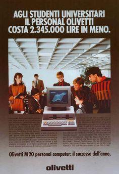 Un esempio di campagna pubblicitaria realizzata nel 1983 per il computer Olivetti M20. L'annuncio in questione reclamizza un'offerta proposta dall'azienda eporediese che invita i giovani studenti ad acquistare un pc Olivetti con uno sconto sul prezzo di listino