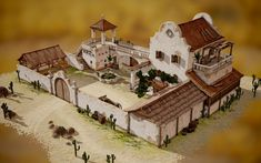 Desert Manor House compound SW What are you working on? 2016 - Page 8 - polycount Spanish Revival, Spanish Style Homes, Boho Glam Home, Casa Viking, Hacienda Style Homes, Casa Patio, Villa, Building Concept, Wargaming Terrain