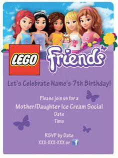 LEGO Friends Party - cut & paste image, use publishing software to cover text, customize. Lego Friends Birthday, Lego Friends Party, Lego Birthday Party, Star Wars Birthday, 6th Birthday Parties, Birthday Party Invitations, Birthday Ideas, 7th Birthday, Lego Invitations