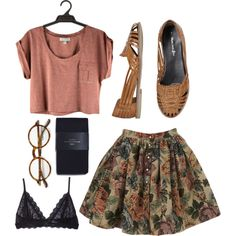A fashion look from October 2013 featuring brown skirt, Zara tights and Eberjey. Browse and shop related looks.