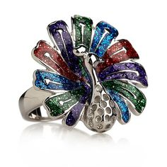 Adorable, affordable, stately steel enamel and glitter multicolor peacock ring at HSN.com
