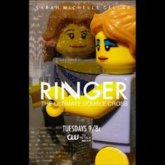 RINGER starring Sarah Michelle #Lego  Not even sure if this series is still on, the poster was just perfect for recreating in lego