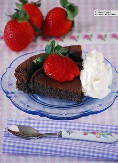 Pastel de chocolate cremoso sin harina. Receta sin gluten