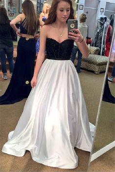 Black White Prom Dress,Sweetheart Prom Dresses,Long Evening Dress