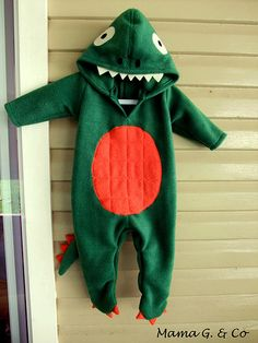 DIY Baby Dinosaur Costume Tutorial from The Train to Crazy