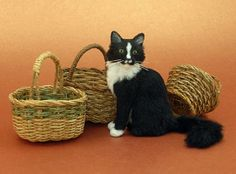 Tuxedo Cat miniature sculpture | Flickr - Photo Sharing!  Kerri Pajutee.