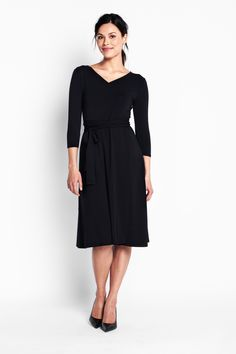 Of Mercer | Black Sutton Wrap Dress | Tall