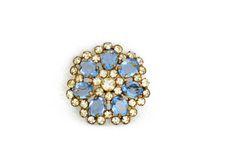 Vintage Brosche Blüte Anstecknadel blaue Steine von LonasART