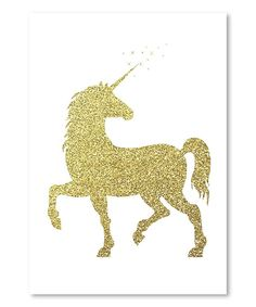 This Gold Glitter Unicorn Wrapped Canvas & Print by Americanflat is perfect! #zulilyfinds. Home craft.