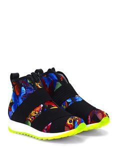 Andia Fora - Sneakers - Donna - Sneaker in pelle e tessuto stampato con multi fasce elasticizzate frontali e suola in gomma. Tacco 35, platform 25 con battuta 10. - NERO\MULTICOLOR