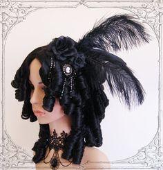 Baroque Wig Goth Rococo Vampire Black Marie by BlackUnicornShop