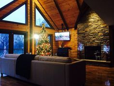The holiday season and a Timber Block Insulated Log Home sure go well together! Happy Monday! www.timberblock.com Cabins In The Woods, House In The Woods, Cottage Living, Living Room, A Frame Cabin, Energy Efficient Homes, Log Cabin Homes, Cabin Interiors, Classic House