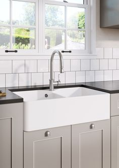 New BLANCO VILLAE® and VICUS® farmhouse style range now available at BLANCO.  BLANCO VILLAE 795 Double Farmhouse with BLANCO VICUS Single Lever Spray tap in Pewter.