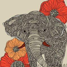 print: lucky elephant - A delightfully detailed print from an original drawing. A great and affordible way to add art to a room - try a series of three or four. Makes a thoughtful gift for a housewarming or even for a child. Image area measures 8 x 10 inches, paper size measures 8.5 x 11 inches. Printed on Cardstock 10pt Gloss Cover.