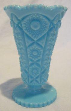 Vintage Turquoise Milk Glass Vase