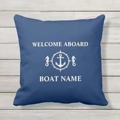 Boat Name Welcome Aboard Seahorse Anchor Navy Blue Outdoor Pillow - tap/click to personalize and buy #OutdoorPillow  #nautical #seahorse #sea #horse #anchor Navy Blue Pillows, Black Throw Pillows, Nautical Pillows, Decorative Throw Pillows, Accent Pillows, Boat Names, Welcome Aboard, Blue Throws, Outdoor Pillow