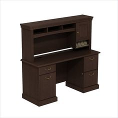 BBF Syndicate 60W X 22D double Pedestal Desk with Hutch - SYN011MR - Lowest price online on all BBF Syndicate 60W X 22D double Pedestal Desk with Hutch - SYN011MR