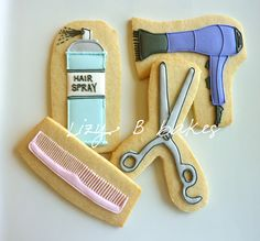 Hairdressing cookies. Hair, hairspray themed party, scissors.